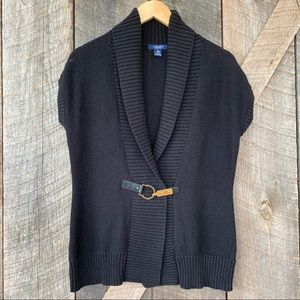 Ralph Lauren Chaps black knit cardigan